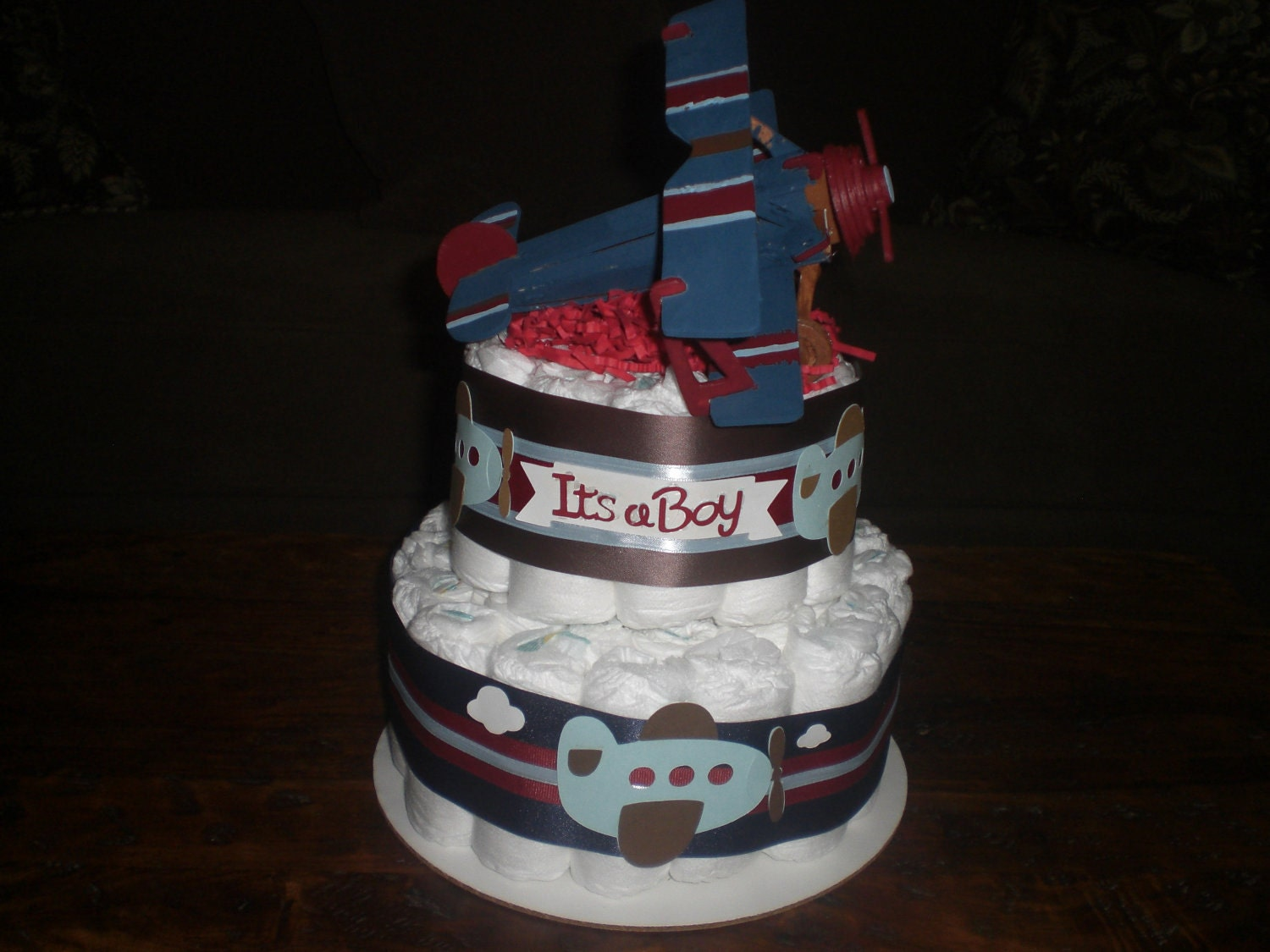 Airplane Blue Baby Shower Gift Boy Diaper Cake Decorations