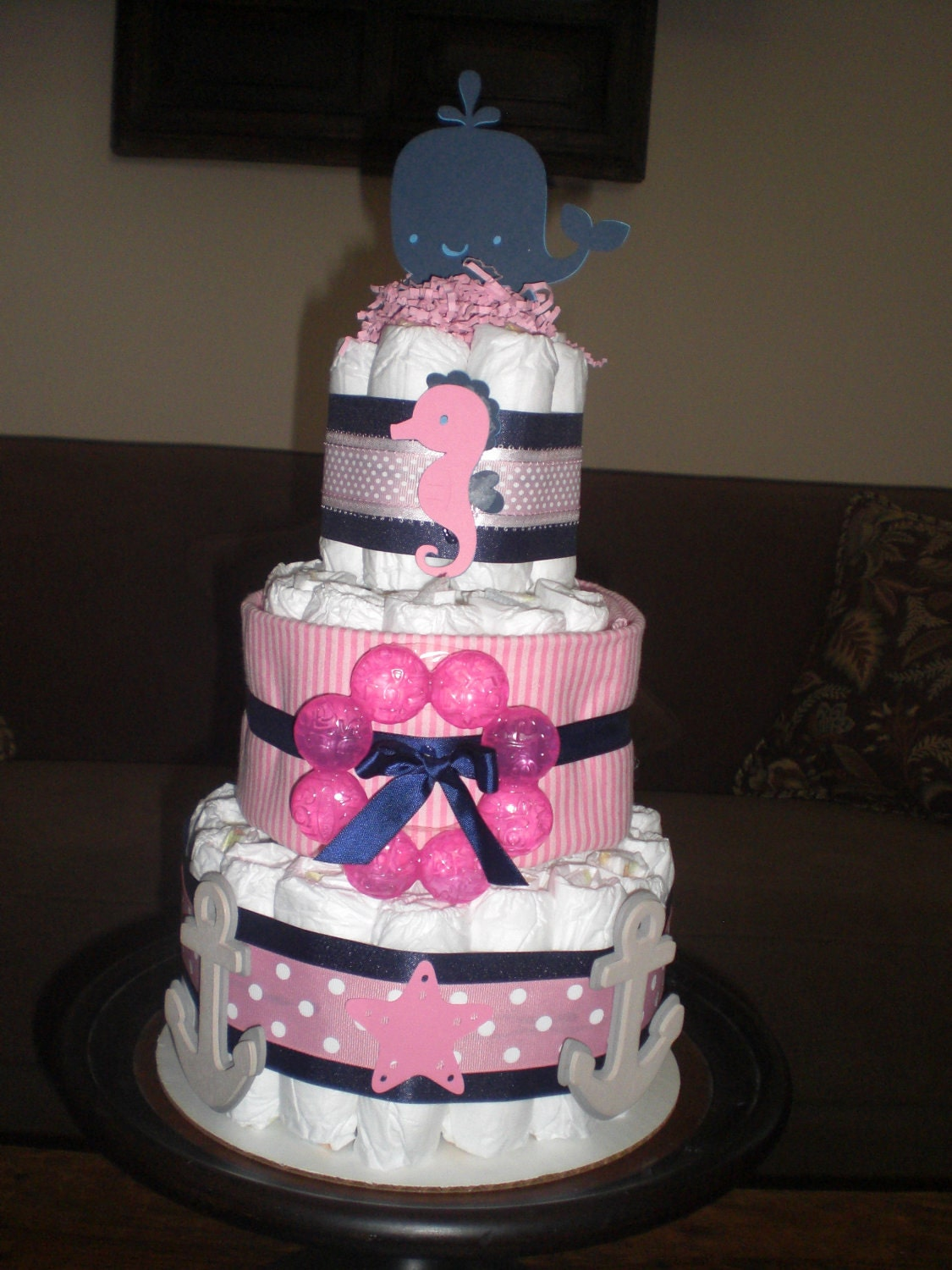 nautical girl whale seahorse diaper cake baby shower