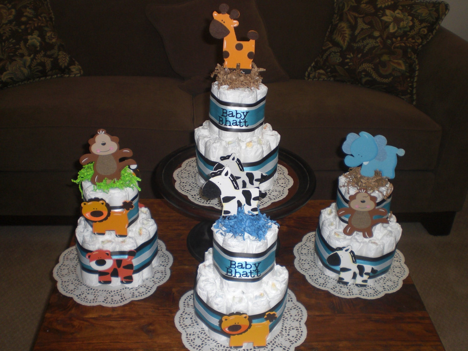 Cake Centerpieces For Baby Shower : Jungle Safari Theme Diaper Cake Baby Shower Centerpiece Safari