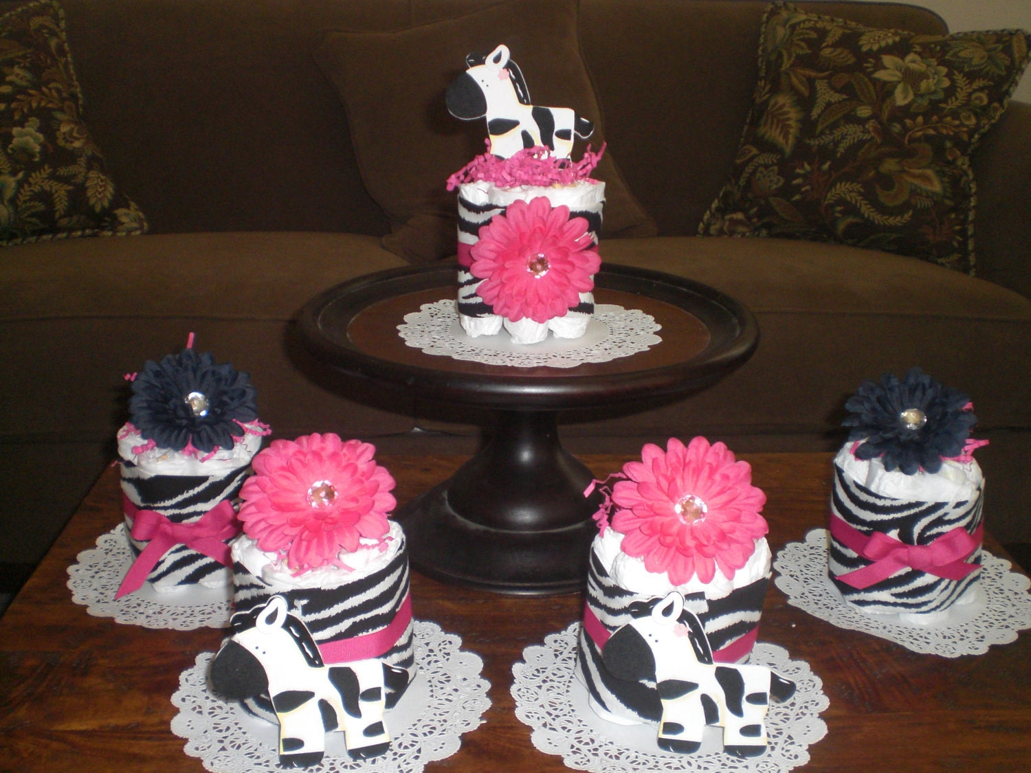 Zebra and hot pink mini bundt diaper cakes bootie
