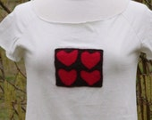 """SALE handmade tshirt """"Candy Box  of Hearts"""" wool applique on cotton jersey"""