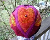 Flaming Heart CHAPEAU upcycled wool knits, wet felt and beads