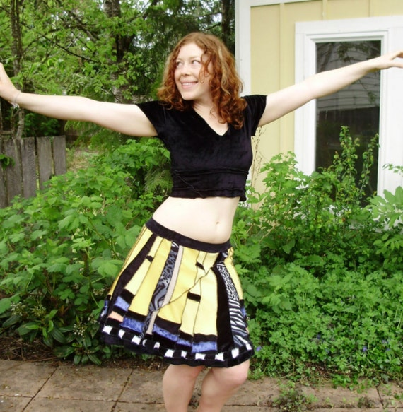 tiger swallowtail SKIRT upcycled knits mosaic patchwork made to order