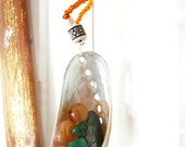 Treasure Necklace / Shell filled with GemStones