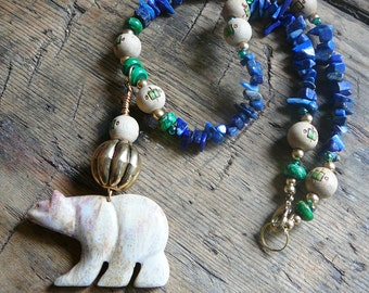 FREE SHIPPING Polar Bear Spirit Necklace / Lapis Lazuli, Jasper