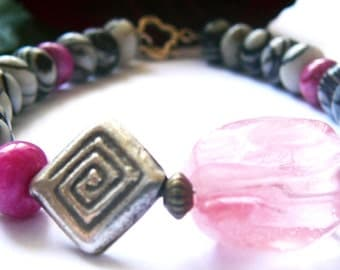 Give Yourself To Love - Bracelet / Zebra Marble , Rhodochrosite , Rose Quartz