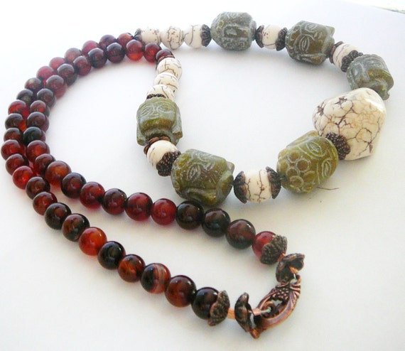 Buddha - Awaken the Enlightened One - Necklace / Buddha Face, Dream Agate, Howlite