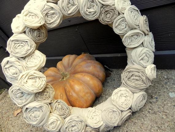 Muslin Rosette Fall Wreath