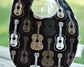 Reversible Infant Bib in Rustic Guitars