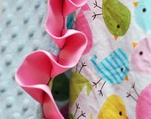 Baby Blanket - Minky Baby Blanket - Birds in Spring - Satin Trim - Straight or Ruffled - Personalization Available - Several Sizes