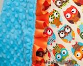 Baby Blanket, Minky Baby Blanket, Bright Owls, Owl Blanket, Custom Made Blanket, Satin Baby Blanket, Personalized Blanket, You Choose Colors
