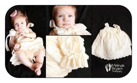 Ivory Eyelet Pillowcase Dress and Pantaloon Set