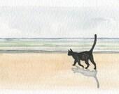Cat and the Sea, 2 - Original Watercolor Painting