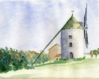 French Windmill, Original Watercolor Painting
