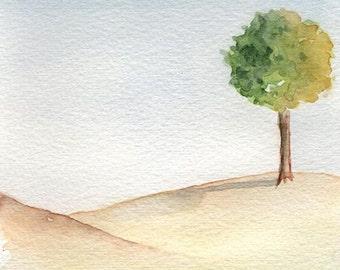 Lone Tree, Original Watercolor Painting