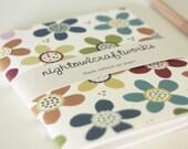 Blank Pocket Journal in Maroon Red, Cornflower Blue, Mustard Yellow and Sage Green on Pure White, flower garden