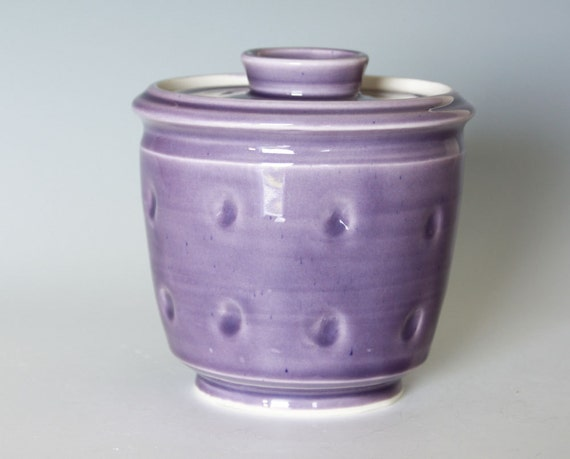 Wheel Thrown French Butter Dish in Blackberry Purple