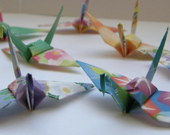 40 Japanese Chiyogami Floral Print Origami Paper Cranes