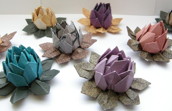 12 Multi Color Water Lilies Lotus Origami Flowers