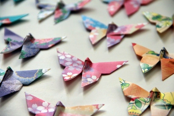 20 Origami Paper Butterflies in Floral Print