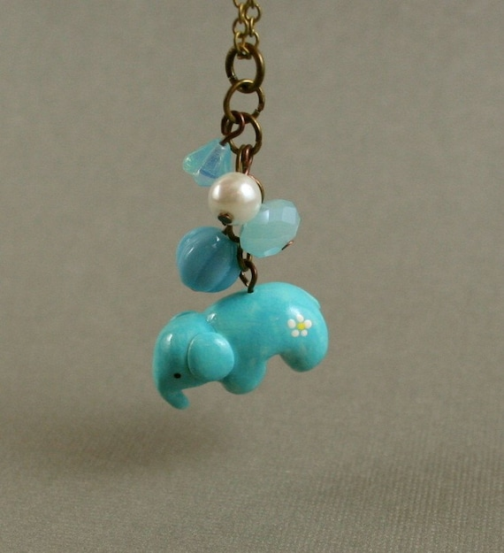 Little Elephant Necklace - Hand Sculpted Miniature Polymer Clay Animal- Antiqued Brass