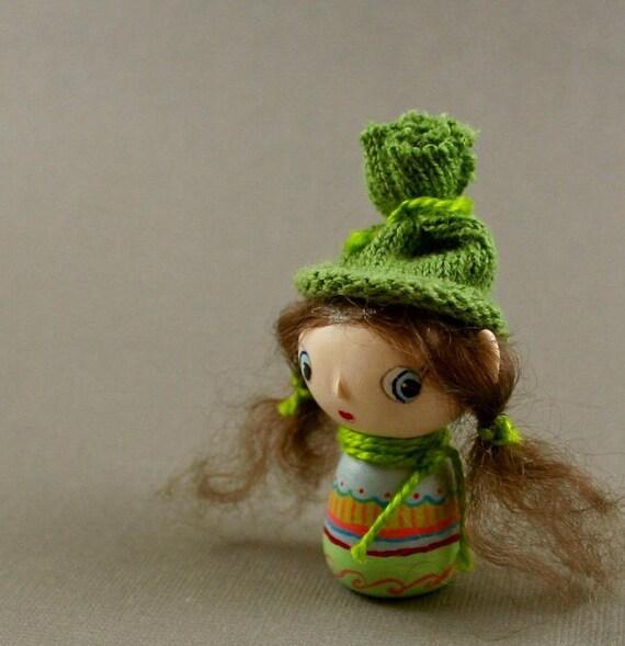 OOAK Art Doll Hand Sculpted - Little Toque Girl Miniature
