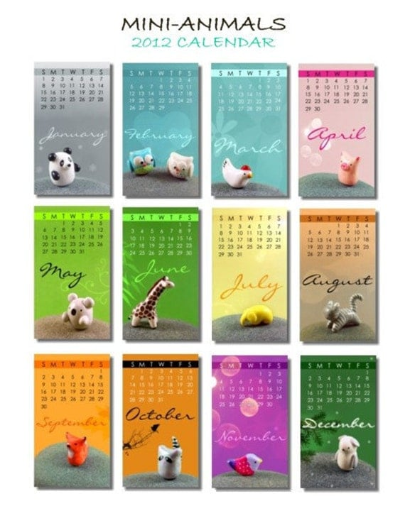 2012 Mini Desk Calendar - Mini Animals