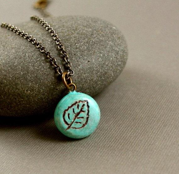 Little Aspen Leaf Necklace - Polymer Clay - Aqua