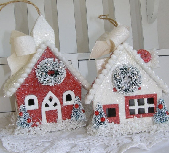 Glittered Paper Mache Christmas House Set Ornament Decorations