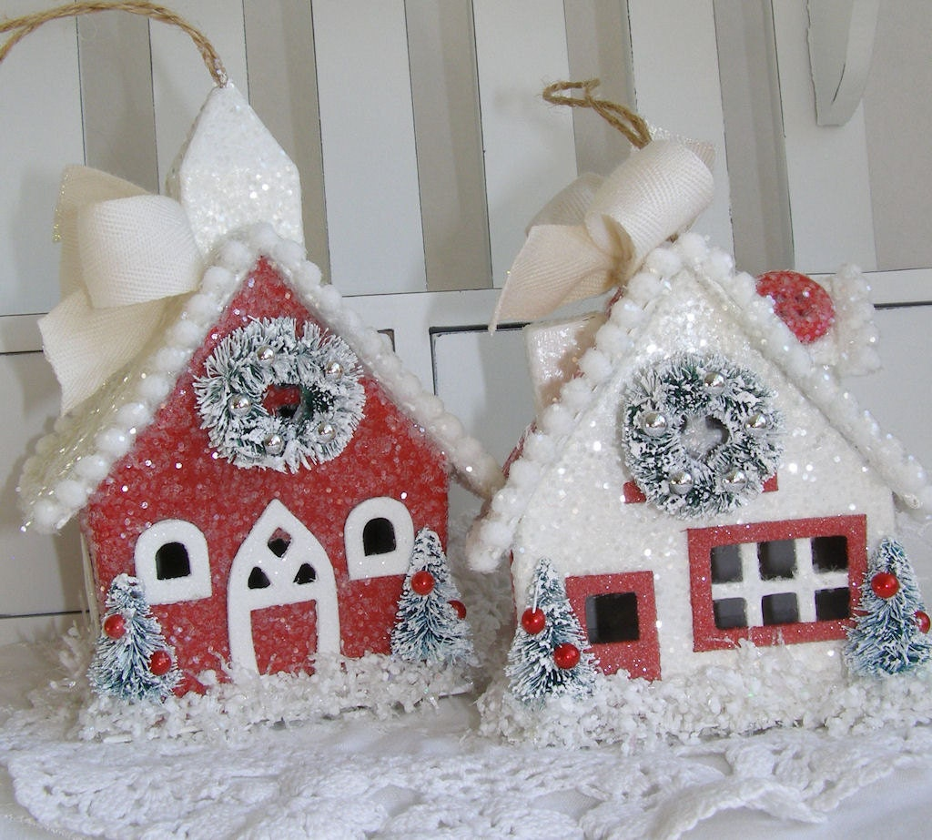 Glittered paper mache christmas house set ornament decorations for Papier mache decorations