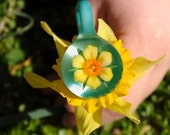 Yellow Daffodil and Aqua, Bloomed Flower Slide Pendant, by Bella Glass