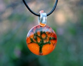 Green Aura Tree over Orange, Bella Glass slide Pendant