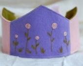 Girls Wool Flower Birthday Crown, Waldorf Style, Purple and Pink