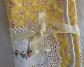 Vintage Linen Notebook or Stationary Wrap with Embroidered Lace Doily and Silk Ribbon