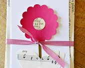 Mini Recycled Vintage Paper Flower Stationery/Notecards