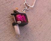 TATTOO MACHINE Handmade Pink Glitter Tattoo Machine Necklace on Chain