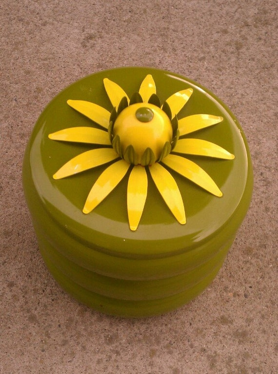 1960s Metal Stacking Container - Olive Green with a Daisy on top - Flour Sugar Rice Etc