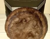 Vintage Mink Fur Hat with Hat Box