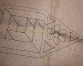 Burlap Rug Pattern Geometric Hand Printed Runner