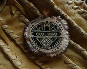 Native American Acoma Design Elk Antler Belt Buckle with Velvet