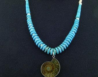 Southwestern Ammonite Turquoise and Luana Shell Necklace