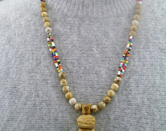 Picture Jasper Native American Style Necklace with Standing Bear