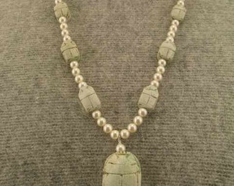 SALE   Egyptian Beetle Scarab Pearl Necklace  Set  20% Off
