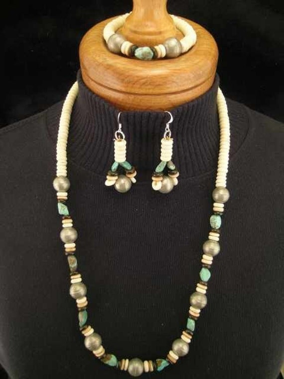 SALE   3 Piece South Western Turquoise, Bone Jewelry Set