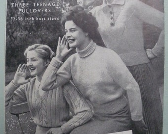 Vintage Knitting Pattern 1940s 1950s Women's Sweaters Jumpers Teenage Pullovers 40s 50s original pattern Bestway No. A2579 UK - polo neck