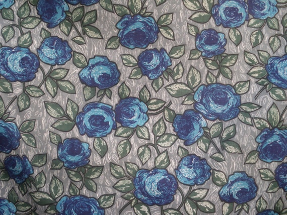 Vintage Fabric Cotton Floral  Remnant - Blue Roses - One Yard