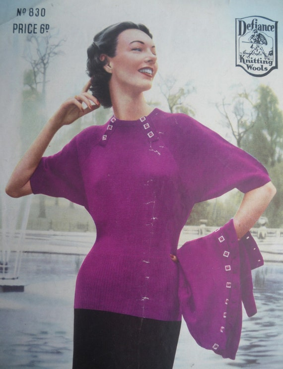 Vintage 1930s Knitting Pattern - Women's Twin Set - Art Deco Design - original pattern