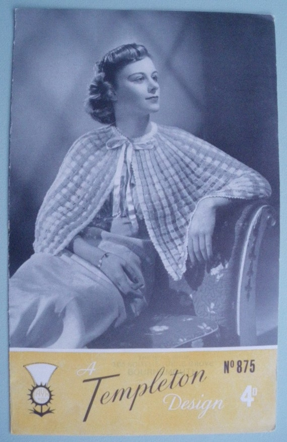 Knitting Pattern Vintage 1940s Bed Cape Shawl