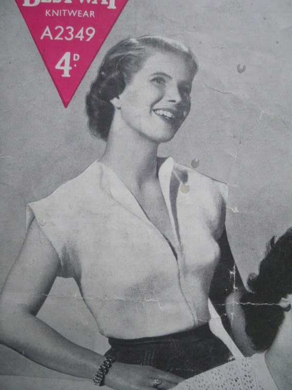 Vintage 1940s 1950s Knitting Pattern Womens Tops / Sweaters / Jumpers 40s 50s original pattern