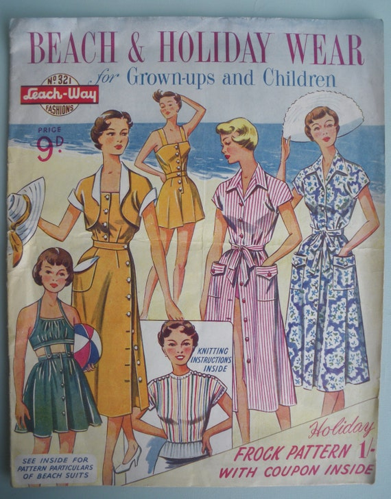 Vintage Sewing Patterns Catalog 1940s 1950s Womens Fashions  - Beach & Holiday Wear for Grown-ups and Children by Leach-Way UK 40s 50s